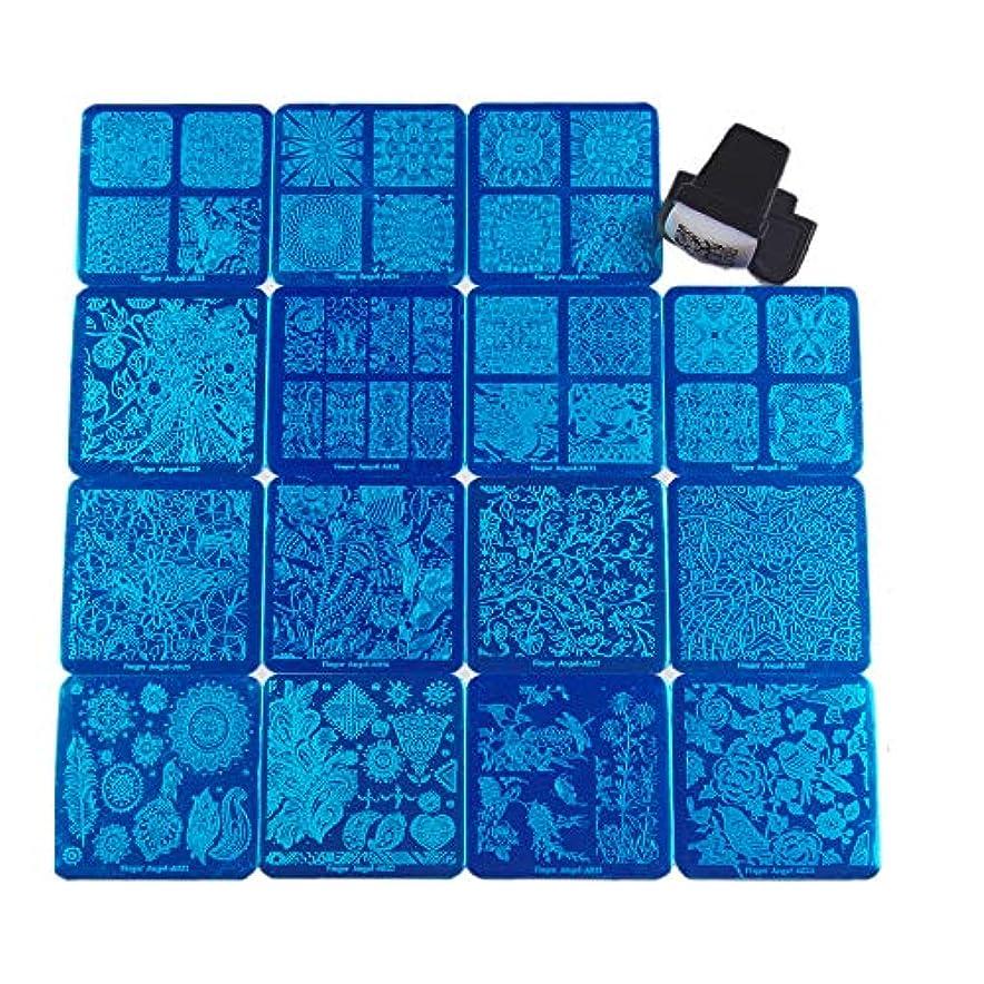 静めるタンカー間FingerAngel ネイルイメージプレートセット ネイルプレート正方形15枚 スタンプ スクレーパー カードバッグ付き ネイルサロンも自宅も使えるネイルプレート