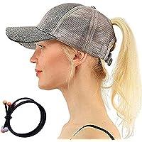 Zinuo Ponycap Messy High Bun Ponytail Adjustable Glitter Mesh Trucker Baseball Cap Hair Band As Gift