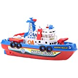 Fireboat Toy, Children Bathing Water Toys Bathtub Electric Ship Marine Fireboat Fire Rescue Boat Children Kids Fireboat Toy Water Spraying Ship Model with Sound & Flash Light