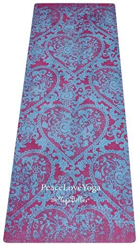 PeaceLoveYoga Mat by YogaBellies®(ピースラブ ヨガマット by ヨガベリーズ)高級感のある、天然ゴムのプロヨガマット。環境に優しく、もうマットの上にタオルを敷く必要がありません。ホットヨガ、ビクラムヨガ、アシュタンガヨガ、マタニティヨガに最適です (KAMA)