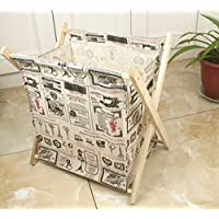 Aorunji シック ヨーロッパスタイルの折り畳み木製工芸品収納バスケット、本雑誌の新聞