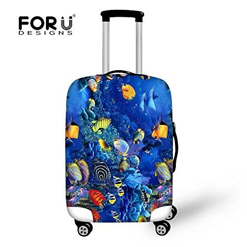 [FOR U DESIGNS]個性的な柄 伸縮素材 Spandex  スーツケース ラゲッジカバー luggage cover 旅行カバンカバー トランクカバー Mサイズ 海底世界1