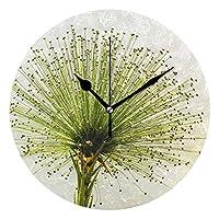 壁掛け時計 電波 コンパクトサイズ プラスチック枠 カフェ レストラン ペンション ローマ数字 直径約24cm 花 はな みどり