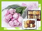 誕生日プレゼント ピンク チューリップ と フーシェ クッキー詰合せ ギフトセット お母さんへの誕生祝い/古希