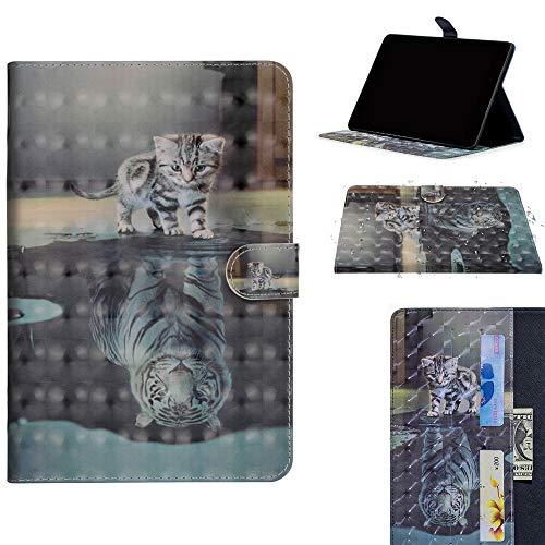 DodoBuy Samsung Galaxy Tab S4 10.5 ケース 3D 手帳型カバー 革 マグネット式ド収納 スタンド機能 財布型 カード収納 おしゃれ フリップ磁気閉鎖 ために Samsung Galaxy Tab S4 10.5 - 猫虎