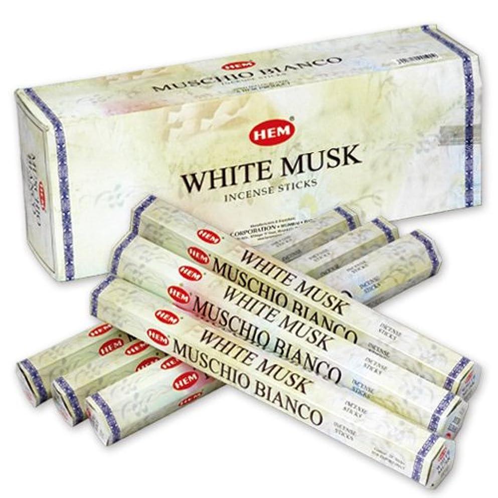 原始的な自然クマノミHEM (ヘム) インセンス スティック へキサパック ホワイト?ムスク 6角(20本入)×6箱 [並行輸入品]