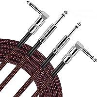 【2本セット】OTraki ギターシールド 3M ストレート - L型 プラグ ギターケーブル 静電容量低 高品質 銅線 ノイズ除去 シールドケーブル エレキギター ベース キーボード などから アンプ 接続 黒と赤 生地編み
