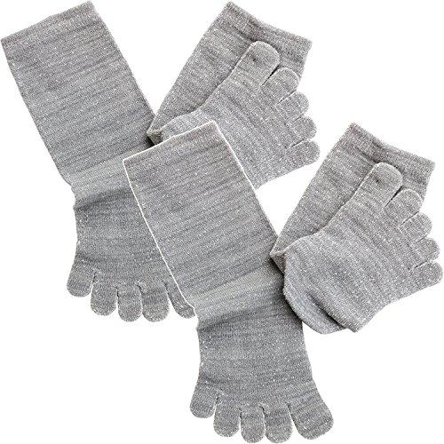 hiorie(ヒオリエ) 日本製 冷えとり靴下 内絹外綿 ミドル丈 5本指 シルクソックス 2足セット 杢ライトグレー