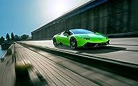 絵画風 壁紙ポスター (はがせるシール式) ランボルギーニ ウラカン 緑 スーパーカー キャラクロ LHRC-005W1 (ワイド版 921mm×576mm) 建築用壁紙+耐候性塗料