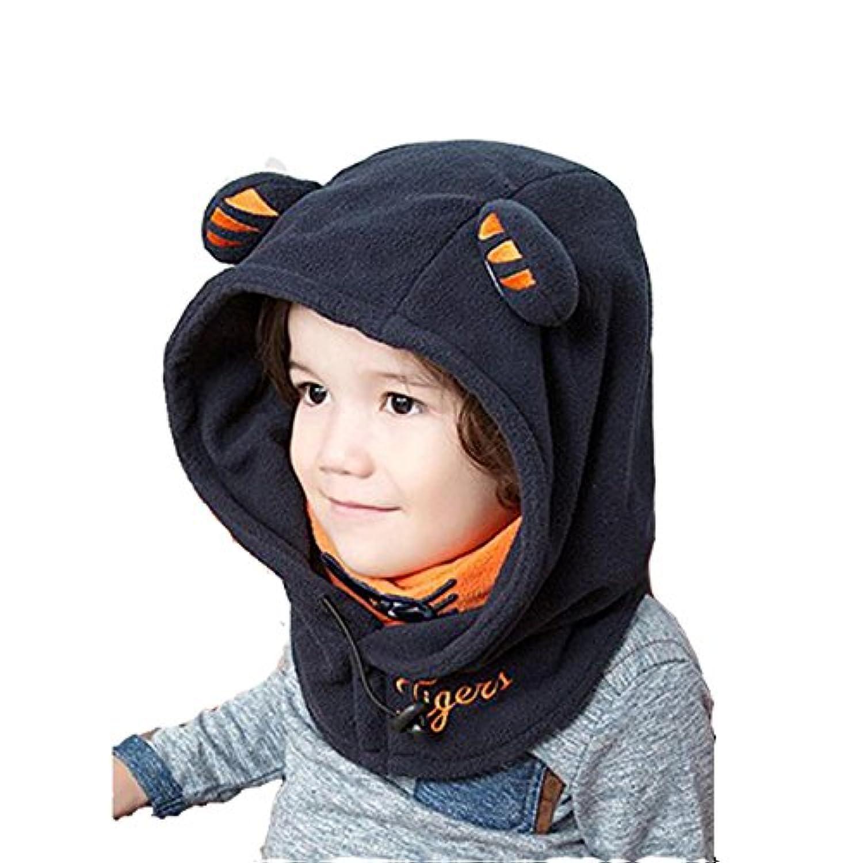 Azarxis キッズ ネックウォーマー フェイスマスク フード ウォーマー 子供用 帽子 暖かい 冬 防寒 (ネービーブルー - 新しいバージョン)