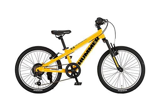 HUMMER(ハマー) マウンテンバイク 20インチ Jr.ATB206-SV 軽量八角形極太アルミフレーム シマノ製6段変速 フロントサスペンション搭載 前後Vブレーキシステム搭載 サドル高58cm~69cm/適応身長120cm~130cm/11kg イエロー 13359-0799