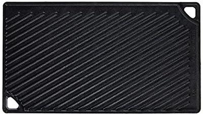 Lodge LDP3 Rectangular Cast Iron Reversible Grill/Griddle, Black