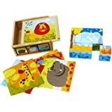 Toys of Wood Oxford Wooden Blocks Cube Puzzles – Wooden Cube Block Jigsaw Puzzles 9 Cubes of 6 Wild Animals in a Wooden Box- Wooden Toys 2 Year Old
