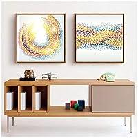 抽象虹線絵画北欧スタイルファッションポスターキャンバスウォールアート印刷画像オフィスのための現代の装飾(いいえフレーム60 x 80 cm x 2ピース)