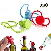 EQLEF® (5個入れ)シリコーンの再利用可能なワイン栓 /ワインボトルストッパーセット- ランダムカラー