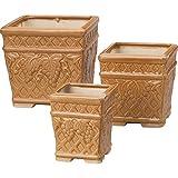 陶器植木鉢 3点セット ブラウン 【ガーデニング プランター 鉢 陶器 セット おしゃれ 植木鉢 洋風】