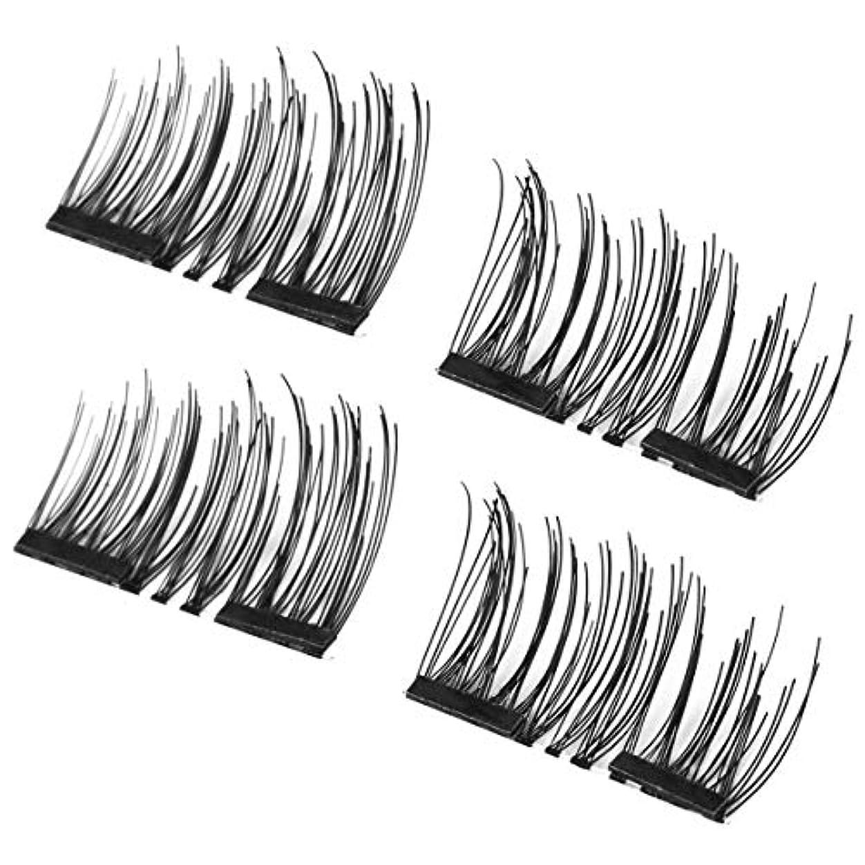 リスト原理知事intercorey偽まつげ4ピース/セット軽量ナチュラル厚い目まつげ3d磁気手作り耐久性のある女性厚いつけまつげツール001