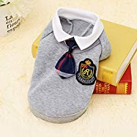 HVTKLN 新しいキャンパスペット イングランド犬服テディ外国貿易ペットスクールユニフォームスピード HVTKLN (Color : Grey sweater, Size : M)