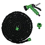 Perfect Hose 伸びるホース 5m→15m 二重ゴム構造 国際品質認証取得 1年間安心保証付き (黒緑)