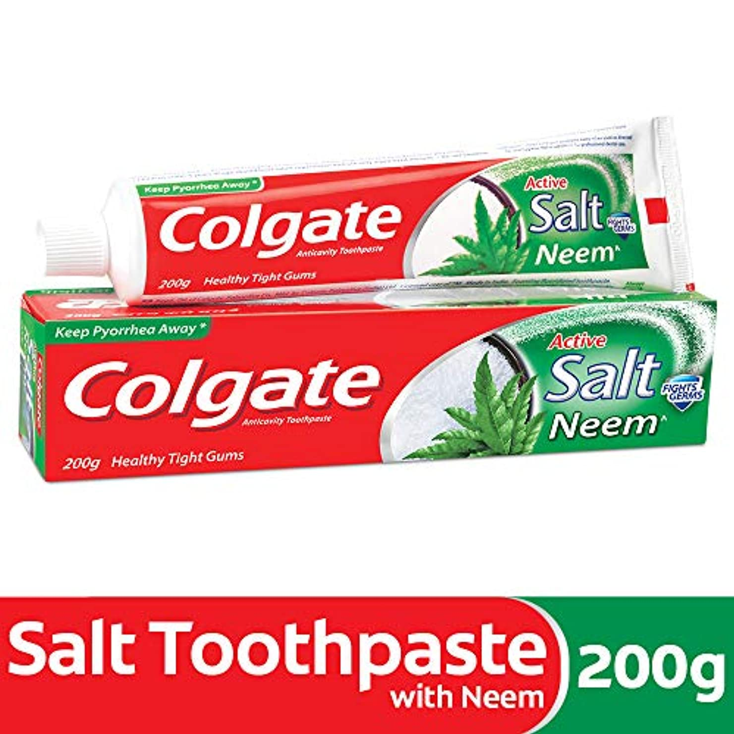 また牽引個人Colgate Active Salt Neem Anticavity Toothpaste - 200g