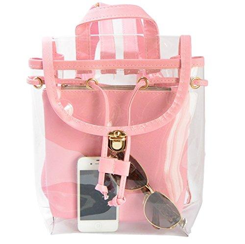 ふんわり 軽やか 半 透明 蛍光 リュック ビニール バッグ (ピンク)