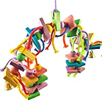 鳥のおしりおもちゃ、カラフルな木製の耐久性のある綿ロープブロック吊り紐の噛み付いた大規模な中小ペット鳥スタンドラックおもちゃのオウムの供給