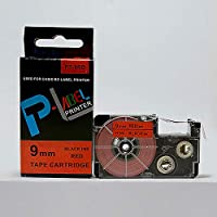 カシオ用 ネームランド テプラ 互換テープカートリッジ カラーラベル 9mm 2個セット 強粘着 6色選択可能【romansense】 (XR-9RD1 赤テープ/黒文字)