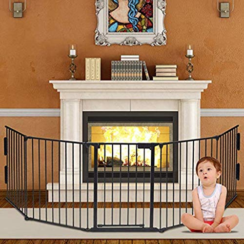 ハースゲート 5面セット ドア付 おくだけ セーフティーゲート ストーブガード 玄関 階段 自由に組み合わせ