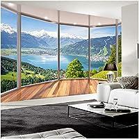 Xbwy カスタム3D壁画壁紙モダンなバルコニーフレンチウィンドウ自然風景写真壁紙リビングルーム-350X250Cm