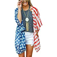 DDSOL Women's American Flag Kimono Cover up Beachwear Cardigan Loose Tops Shirt Blouse