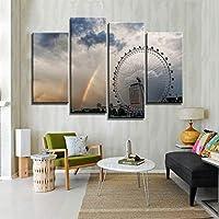 キャンバスプリントポスターホームデコレーション4ピースレインボーシティビル風景画ウォールアート写真リビングルーム30X60Cmx2 30X80Cmx2なしフレーム