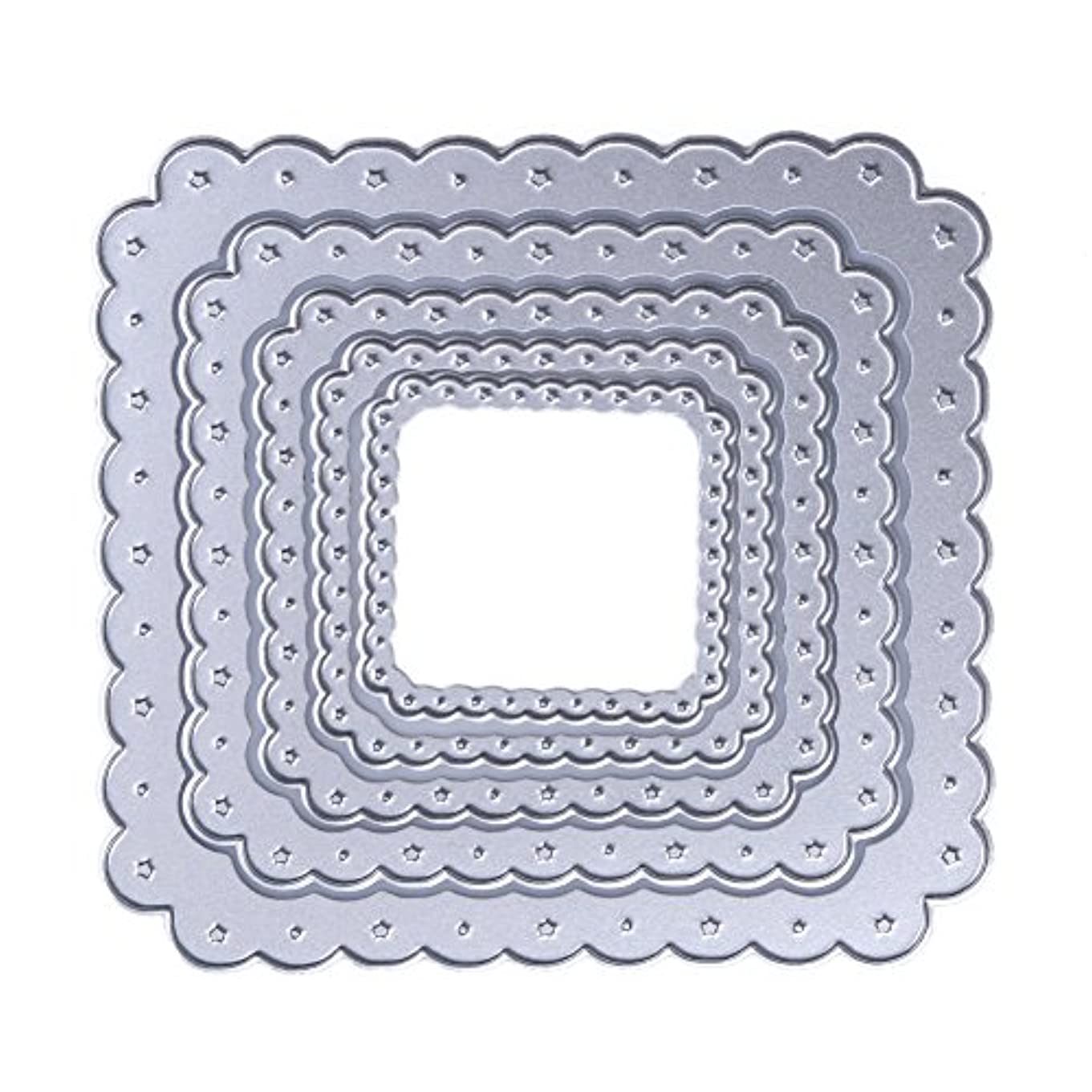 気がついて蒸気繁殖Demiawaking スクラップブック カード作り道具 ダイカットテンプレート 切り抜き紙が作れる型?四角形5枚セット