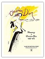 クリスチャンディオール1947-1957へのオマージュ - パリのアートとファッションの博物館で展示 - によって作成された ルネ・グリュオ c.1987 - アートポスター - 51cm x 66cm