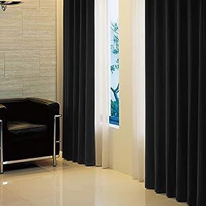 窓美人 アラカルト 1級遮光カーテン ピュアブラック 幅100×丈150cm 2枚組 フック タッセル 断熱 省エネ 高級感のある生地