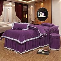 日本語 綿 マッサージ テーブル シート セット,純粋な色 マットレス ベッドカバー,ビューティー サロン 抗菌 4 個セット 推拿ベッド ベッド カバー-F 190x70cm(75x28inch)