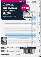 Filofaxカレンダー挿入ポケット:2ページに1ヶ月タブ付き2020年ドイツ語インデックス