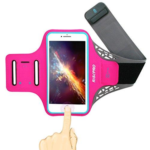 iPhone 7 plus アームバンド RISEPRO ランニングアームバンド 指紋ロック解除可能 5.5インチ大画面スマホに最適 キーホルダー/ミニ収納ポケット付 レッド