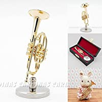 1:12 Golden Cornet with Stand and Black Case Musical Instrument Miniaure Dollhouse