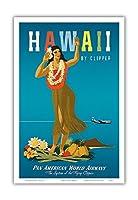 ハワイ州クリッパー - ハワイアンフラガール - パンアメリカン航空 - ビンテージなハワイの旅行のポスター によって作成された ジョン・アサートン c.1950s - アートポスター - 23cm x 31cm