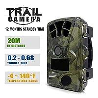 スカウトカメラ、トレイルゲームのカメラ、HDゲーム狩猟カメラ、赤外線ナイトビジョン画面防水IP65野生生物狩猟カム