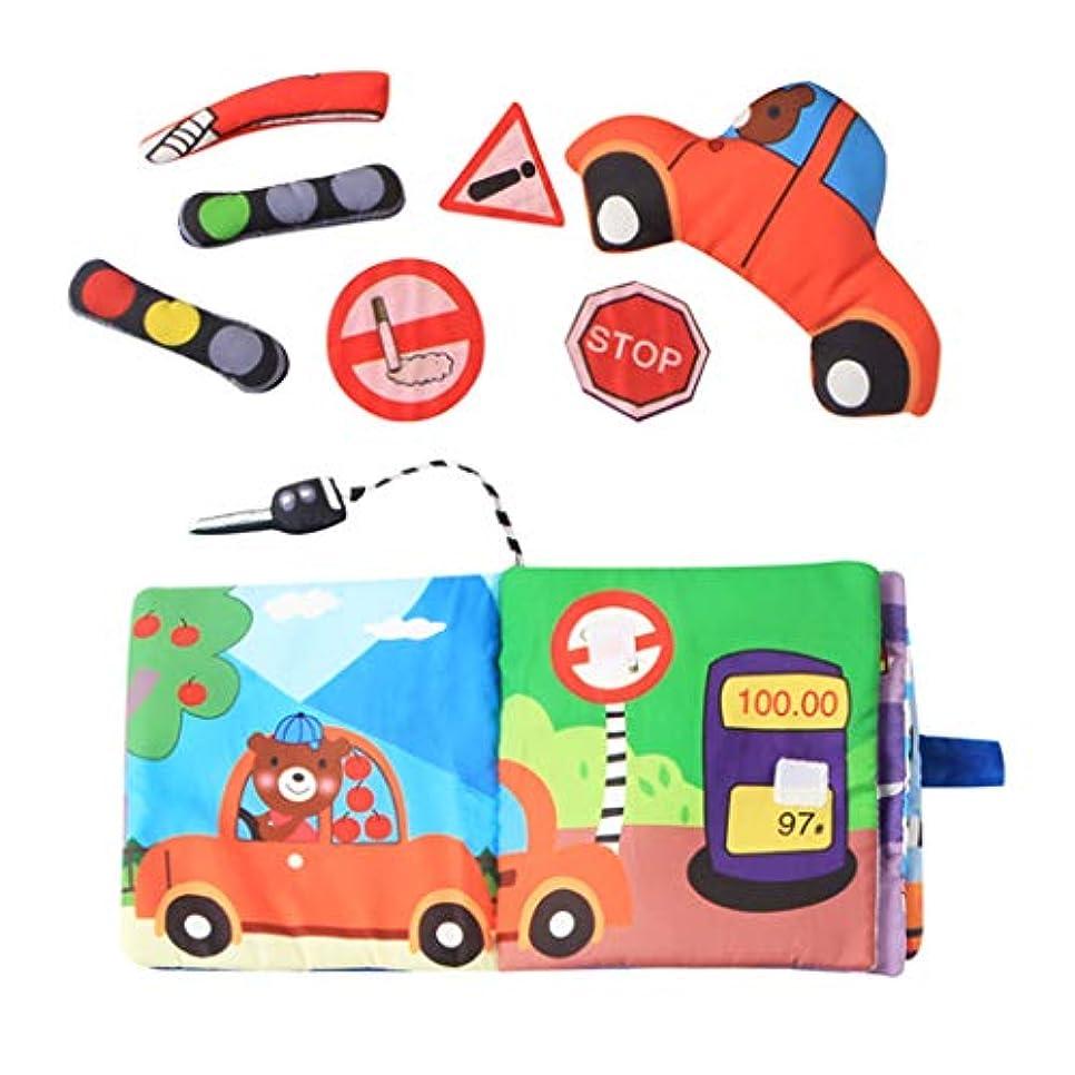 木エチケット落ち着くToygogo 楽しいインタラクティブなベビークロスブック、3Dトラフィックツールシェイプ、幼児感覚初期発達玩具、洗濯機で洗えます