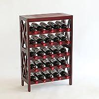 北欧ワインラック木製ワインホルダーディスプレイスタンドフロアタイプワインキャビネット収納ラック25本大容量 (色 : ワインレッド)