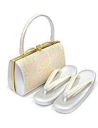(紗織) 礼装用 草履バッグセット 日本製【Lサイズ シルバー台/流水華文(12) 14448】