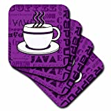 Janna Salak Designs Food and Drink–コーヒー好きギフト–コーヒー単語印刷–パープル–コースター set-of-8-Soft パープル cst_58645_2