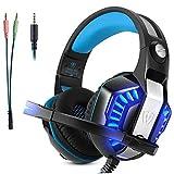 Micolindun ゲーミング ヘッドセット マイク付き ノイズキャセリング LEDライト ヘッドアーム伸縮 (ブラック&ブルー)