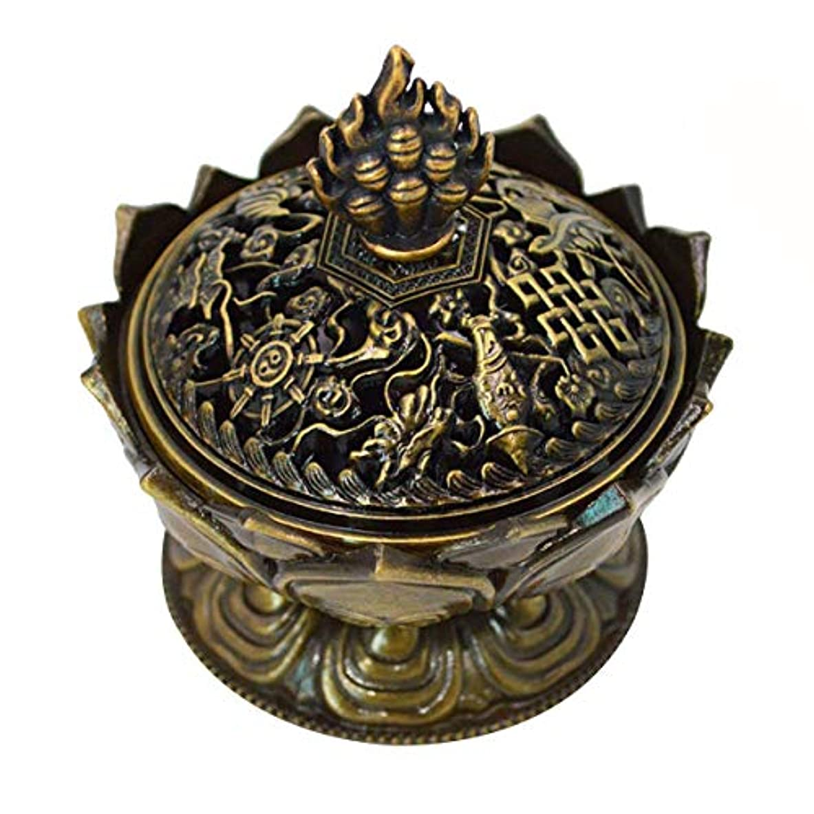 ねばねばご意見プログラム(Bronze) - Buddha Lotus Flower Incense Burner Alloy Metal Incense Holder Censer Creative Christmas Gifts (Bronze)