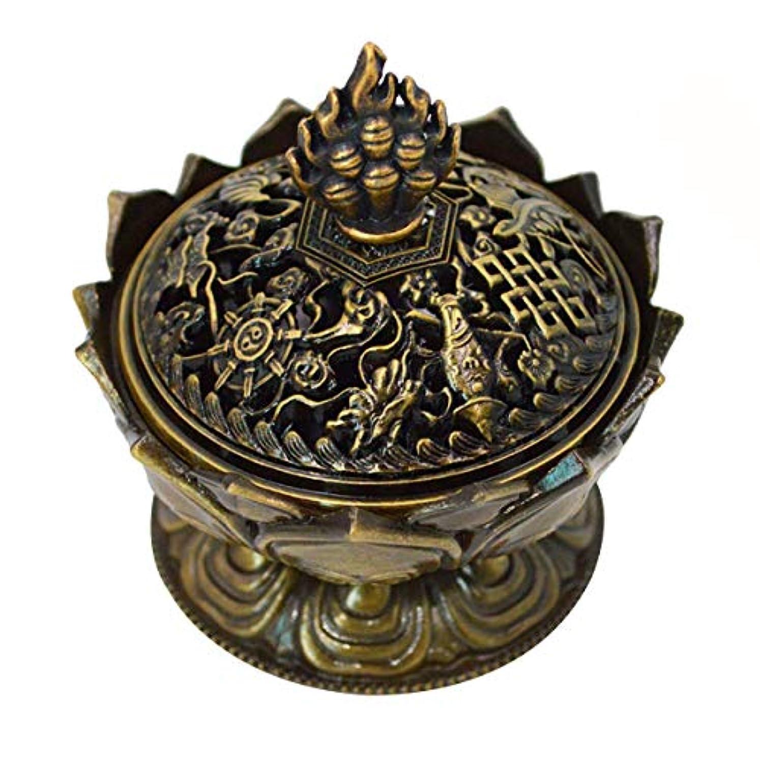 タバコバーベキュー傾いた(Bronze) - Buddha Lotus Flower Incense Burner Alloy Metal Incense Holder Censer Creative Christmas Gifts (Bronze)