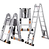 Step Stool Telescopic Ladder - All-Aluminum Multi-Function Ladder, Thicker Ladder - 5 Sizes (Size : 1.6+1.6 m = Straight Ladder 3.2 m)