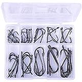 Niome 50Pcs/Pack 10 Size Assorted Sharpened Sharp Fishing Fish Hook Tackle Lure Bait Set Kit