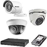 HIKVISION(ハイクビジョン) 防犯カメラセット 5年保証 監視カメラ × 2台(243万画素フルハイイビジョン) HD-TVI +1TB HDD 屋外内用 小型 スマホ対応 録画機能付き 4CH 防犯カメラ セット 8点セット 屋外用ドーム1台,屋外用1台 TVI-SET6-C2-1TB